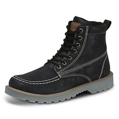 AILADUN Men Mid-high Short Boots Solid Color Stitching Decor Thick Non-slip Outsole Outdoor Daily Shoes