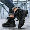 Senbao Mannen Lace Up Boots Dik Non-slip buitenzool Fashion Easy-match Tooling Footwear - ZWART