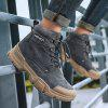 SENBAO Men Lace Up Boots Thick Non-slip Outsole Fashion Easy-match Tooling Footwear - GRAY
