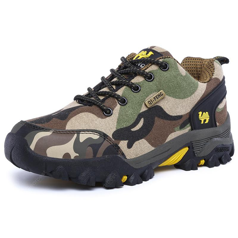 Men Camouflage Outdoor Shoes Casual Hiking Footwear Lace Up Slip Resistant
