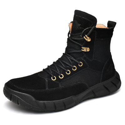 Men's High-top Lace Up Boots Cowskin Waterproof Non-slip Outsole