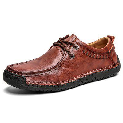 SENBAO Men's Cowskin Casual Shoes Lace Up Hand-stitching Comfortable Easy-match
