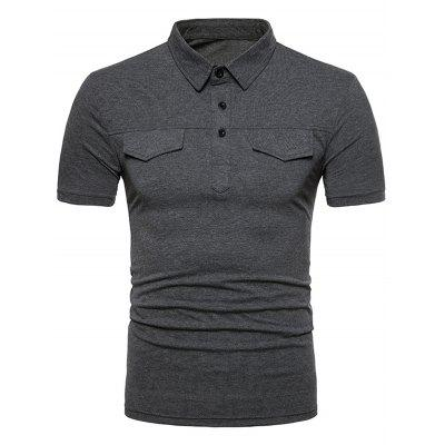 Pánske Turn-down golier krátky rukáv T-shirt Pocket Cover Top Solid Color Button-down Tee