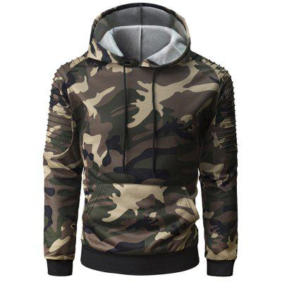 Men Camouflage Long-sleeved Hoodie Personality Fold Raglan Sleeve Sweater Hooded Large Pockets