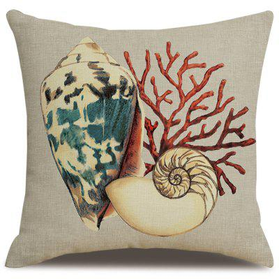 Printing Conch Flax Material Pillowcase Cushion Cover Home Textile