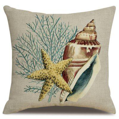 Printing Conch Flax Material Pillowcase Cushion Cover Home Textile 45 x 45cm