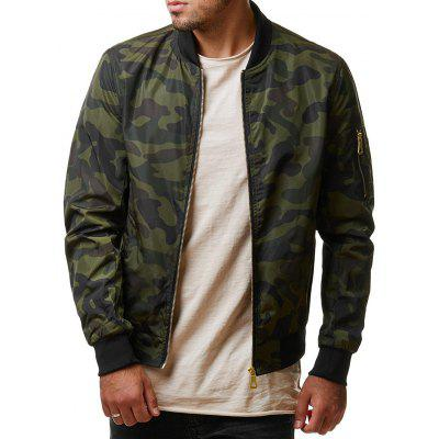 Men's Long-sleeved Camouflage Jacket Stand Collar Zipper Design Outdoor Clothing