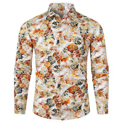 Men's Turn-down Collar Shirt Flower Print Top Long-sleeved T-shirt