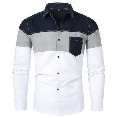 Men's Turn-down Collar Stitching Shirt Stripe Printing Long-sleeved Button-down T-shirt with Pocket