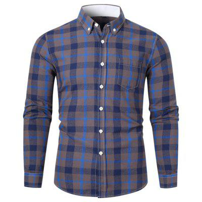 Men's Turn-down Collar Long-sleeved Shirt Fashion Plaid Printing Top Button-down Tee