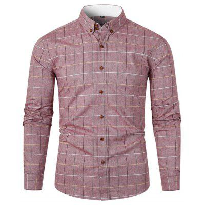 Men's Turn-down Collar Plaid Shirt Fresh Style Long-sleeved T-shirt Buttons