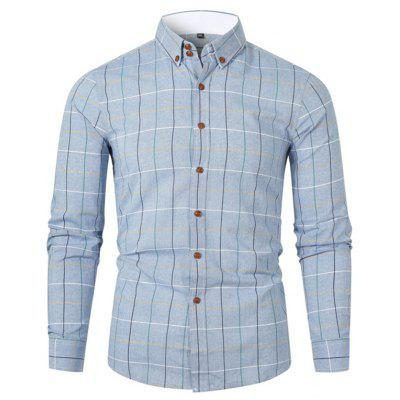 Men's Turn-down Collar Plaid Shirt Fresh Styl