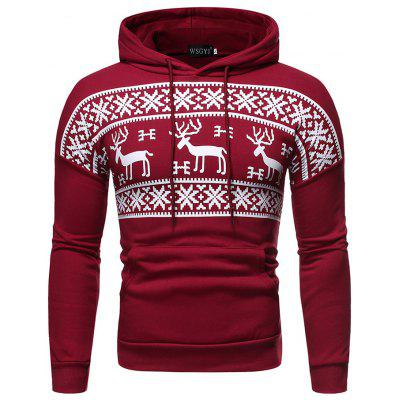 Men's Fashion Deer Printing Hoodie Cute Pattern Sweater Casual Jacket Drawstring Sweatshirts