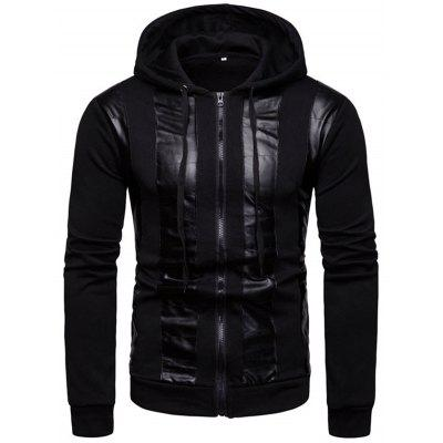 Men's Personality Stitching Hoodie Zipper Hooded Sweater Coat Daily Outdoor Clothing