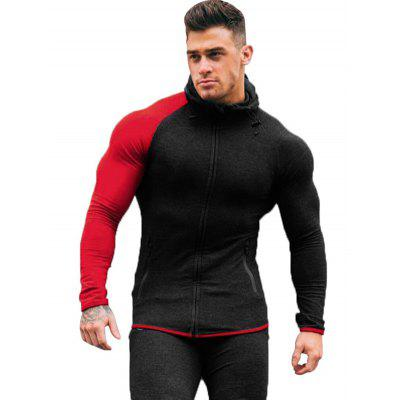 Men Contrast Color Hoodie Long-sleeved Zipper Sweater Sports Shirt with Pocket