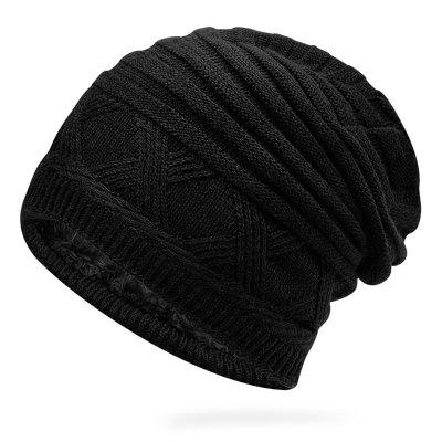 Men Autumn Winter Knit Hat Keep Warm Sleeve Head Cap Solid Color Simple Durable