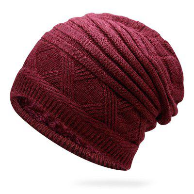 Men Warm Autumn And Winter Knit Cap Sleeve Head Cap Solid Color Simple And Durable