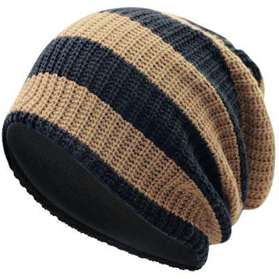 M0017 Men's Warm Autumn And Winter Knit Cap Classic Striped Pattern Hat Ear Protection Head Protection