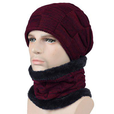 T0174 Men's Fall Winter Keep Warm Hat Set with Scarf Checkered Thick Design Skullies Beanie