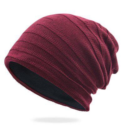 T0007 Men's Wrinkle Fold Scarves Hat Solid Color Knitted Cap Ear Protective Keep Warm Headgear