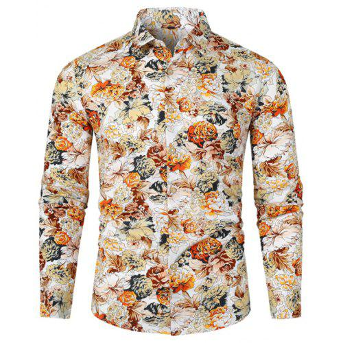 Fashion Shirt for Men SFE Mens Summer Print Turn-Down Collar Slim Fit Short Sleeve Top Shirt Blouse