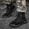 Men's High-top Lace Up Boots Cowskin Waterproof Non-slip buitenzool - ZWART