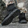 Men's High-top Lace Up Boots Cowskin Waterproof Non-slip Outsole - BLACK