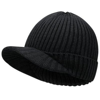 M0002 Men's Keep Warm Hat with Brim Knitted Sun Cap