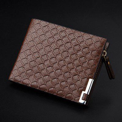 YAJIANMEI LS991 Man Stylish Plaid Wallet Short Casual Purse Zipper Money Clip