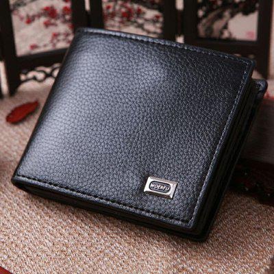 LS994 Men's PU Short Wallet Embossed Purse Contracted Style Solid Color