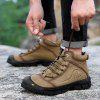 AILADUN Men High-top Air-permeable Shoes Outdoor Anti-collision Toe Lace-up Hiking Footwear Large Size - LIGHT KHAKI