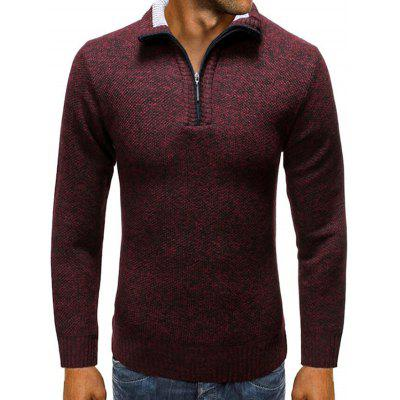 Men Turn-down Collar Half-zip Sweater Solid Color Casual Everyday Clothing