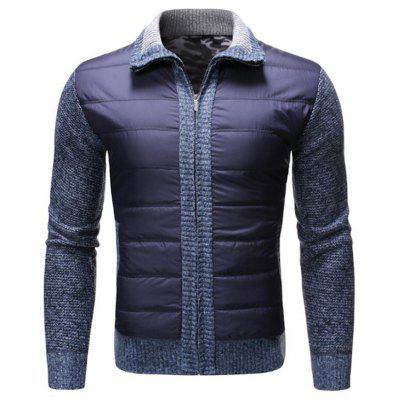 Men's Turn-down Collar Zipper Sweater Stitching Cardigan Casual Everyday Clothing