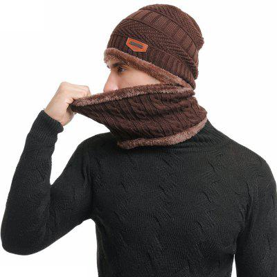 Male Velvet Keep Warm Hat Set Knitted Headgear + Neckerchief Winter Cap