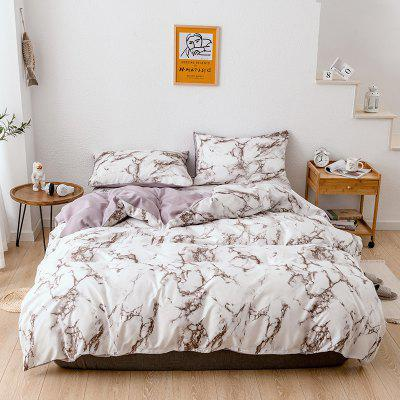 Bedding Textile Marbling Printing Pure Plain Quilt Pillowcase Set