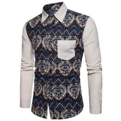 Men's Printing Turn-down Collar Shirt Ethnic Style Long-sleeved T-shirt with Pocket
