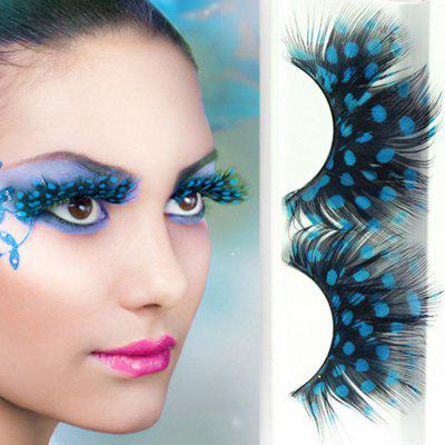 Exaggerated Stage Colored Spots Makeup Eyelashes One Pair