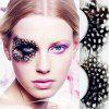 Exaggerated Stage Colored Spots Makeup Eyelashes One Pair - WHITE