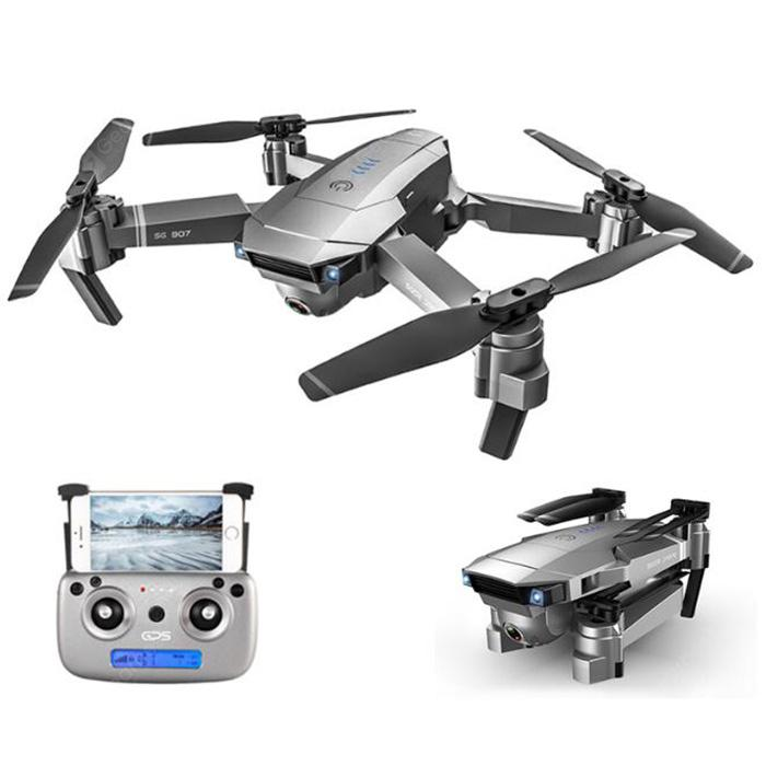 SG907 5G WiFi Folding Drone HD Image Transmission 50 Times Focal Length GPS Aerial Intelligent Image Stabilization Professional - Gray 4K2 Batteries with Bag