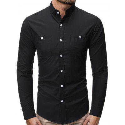 Men's Fashion Stand Collar Shirt Casual Button-down Long-sleeved T-shirt Solid Color with Pocket