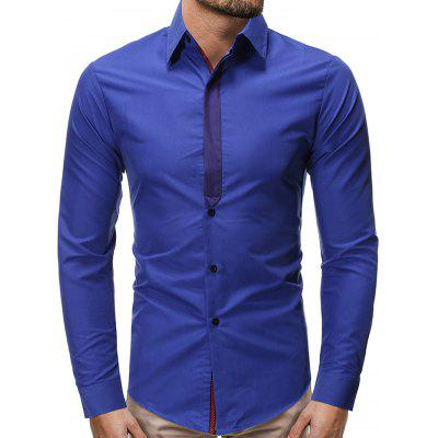 Men's Fashion Contrast Color Stitching Shirt Business Printing Tie Long-sleeved T-shirt