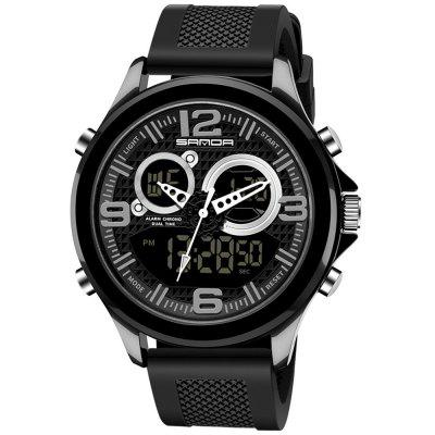 Sanda 793 Men Military Style Big Dial Watch Trend Multifunction Dual Display Electronic Watches Luminous Waterproof