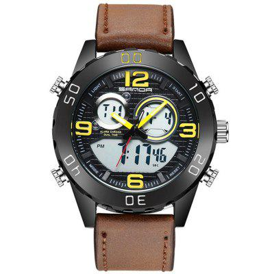 Sanda 772 Men's Dual Movement Watch PU Band Waterproof Luminous Large Dial