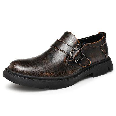 AILADUN Men Low-top Slip-on British Casual Shoes Genuine Leather Large Size Pin Buckle Footwear