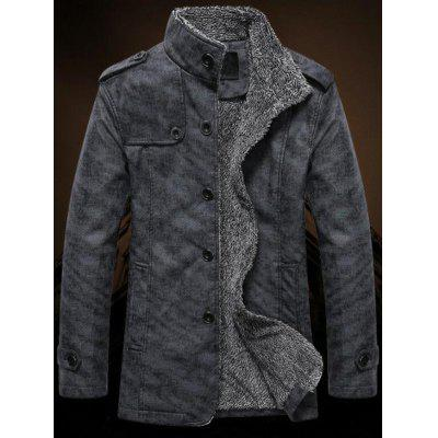 Men's Solid Color Stand Collar Jacket Plus Velvet Keep Warm Coat Button-down Motorcycle Clothing