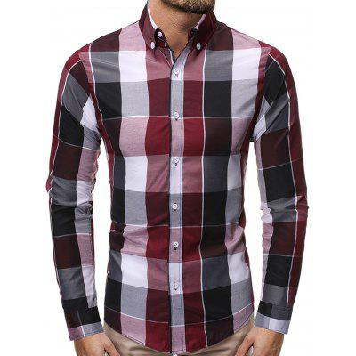 Men's Casual Plaid Shirt Slim Long-sleeved T-shirt Turn-down Collar Button-down Top