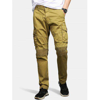 Men's Solid Color Tooling Pants Cotton Washed Multi Bags Bottoms Practical Durable