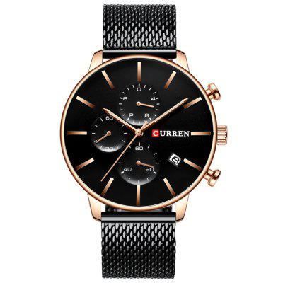 Curren 8339 Montre à Quartz de Calendrier Etanche Multi-broches de Style d'Affaires à Six Broches pour Hommes
