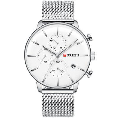 Curren 8339 Men's Waterproof Calendar Quartz Watch Six-pin Multi-functional Business Style Big Dial
