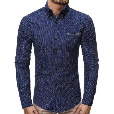 Men's Business Turn-down Collar Shirt Long-sleeved Button-down T-shirt Single Pocket